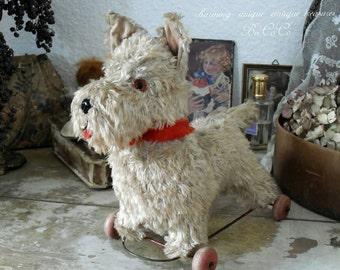 🌸 🌸 Charming, antique fabric dog - Nachziehtier – Westi