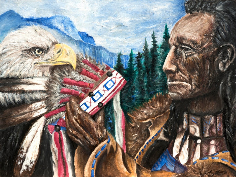 Spiritual Return ~ FINE ART PRINT, Native American Art, Giclee Print, Native  American Wall Decor, Wall Art, Handmade Art, Eagle Art