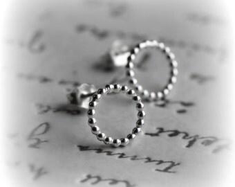 Circle Stud Earrings, Minimalist Earrings, Tiny Circle Stud Earrings, Sterling Silver Dotty Circle Earrings, Hoop Stud Earrings - Blissaria
