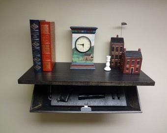 Secret Storage Shelf Ebony Finish with Hidden Magnetic Lock