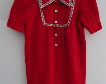 Vintage 1960 Shapiro Red Blouse with ribbon detailing