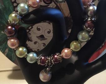 Multi color glass pearl bead bracelet
