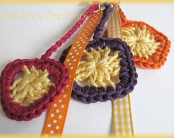 Keychain vitamin knitted hand crochet in pure cotton and brightly coloured ribbons