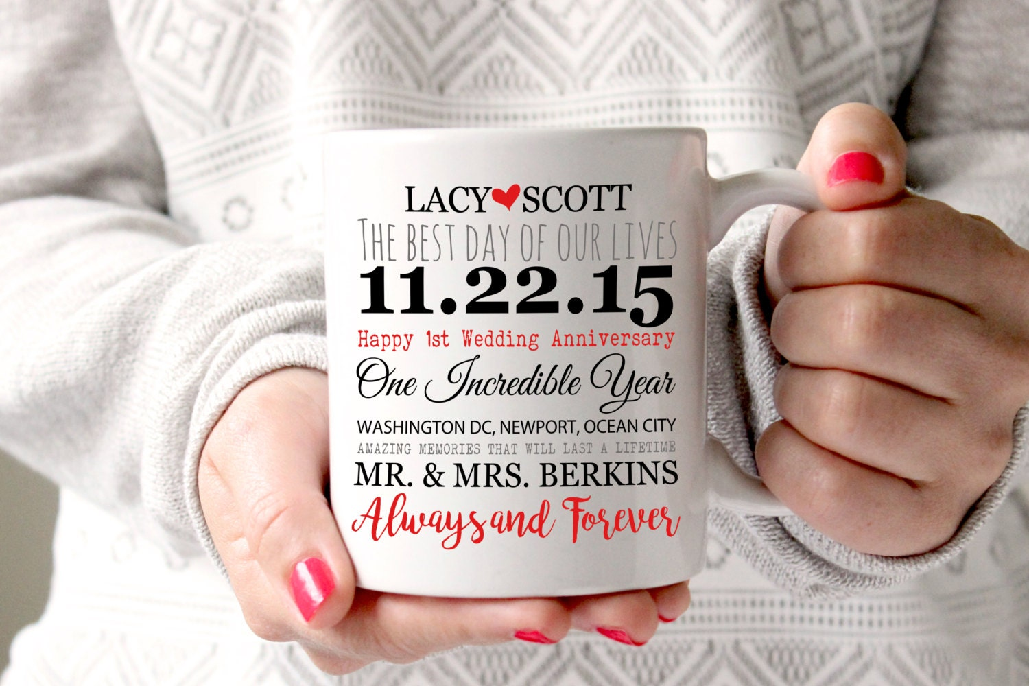 1 Yr Wedding Anniversary Gifts For Her: 1 Year Anniversary Mug 1 Year Of Marriage Gift Anniversary