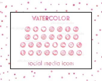 Social Media Icons, Watercolor Icons, Pink Icons, Watercolor Buttons, Blog Icons, Resume Icons, Business Card Icons, Social Media Buttons