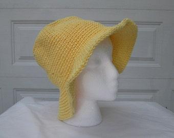 Yellow sun hat, beach hat,  summer bonnet, 100% cotton, crochet and knit, tween and teen, women's accessories