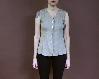 minimal vintage oatmeal 90s abalone shell button flax linen tank top