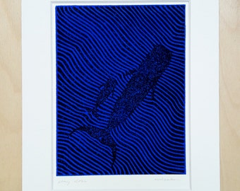 Stay close (black/blue); linocut; original; incl. VAT