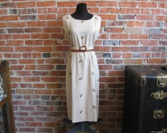 Vintage 1960s Linen Embroidered Sheath Dress / Beige +Brown / 50s 60s Hourglass Day Dress / 50s Wiggle Dress / Tea, Summer Wedding,