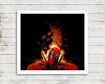 Deadpool superhero movie illustration modern art digital print