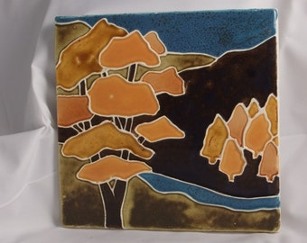 Ceramic Tile-Landscape Tree and River yellow brown blue wall decor