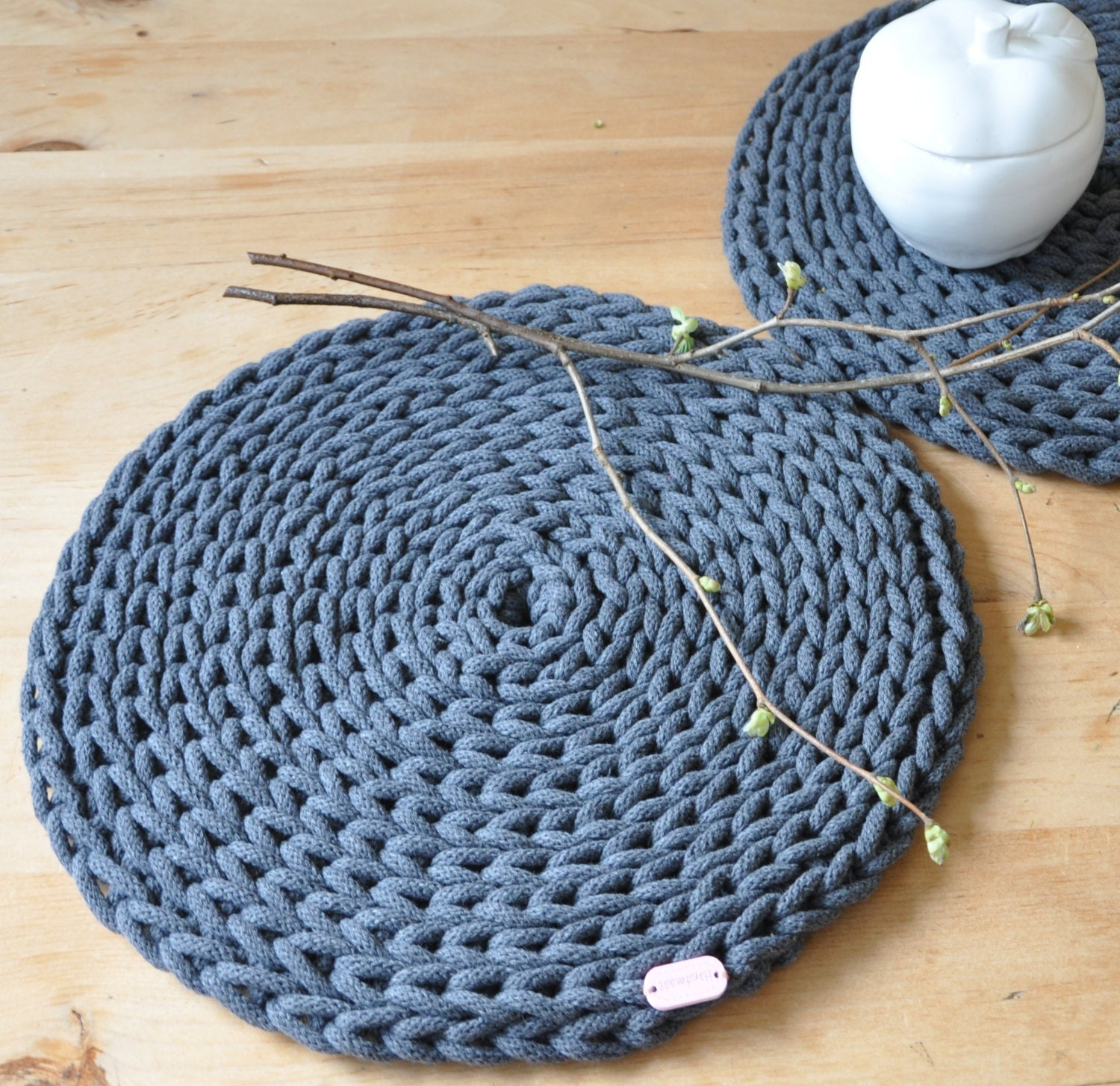 Crochet Round Placemats Set of 2 Graphite by ThoughtsofHomeDecor