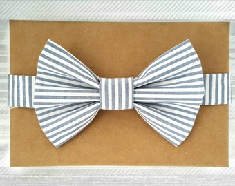 Modern Gray/Blue Striped Bow Tie