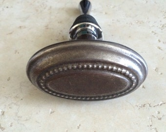 Vintage Oval Metal Doorknob Wine Bottle Stopper