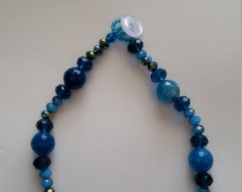 Bright Blue Beaded 17 inch Necklace