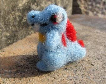 Wool Totodile toy/Pokemon plush/needlefelt doll/water type/anime gifts/Nintendo/Gamer gifts/miniature character/made to order/Soft toy