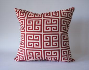 Greek Key Cushion Cover in Red
