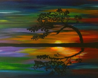 Acrylic Abstract Sunset and Tree Painting