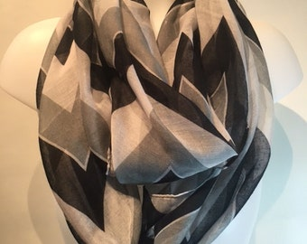 Grey black and white Chevron infinity scarf, buy 5 items from my shop and get one free and free shipping contact me for coupon code.