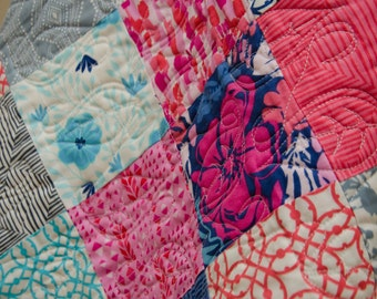 Patchwork Baby Girl Quilt in Moda Paradiso-- Coral, Hot Pink, Aqua, Cobalt