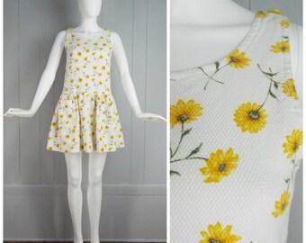 Vintage 1990s Sleeveless Floral Print Minidress | Size XS, S
