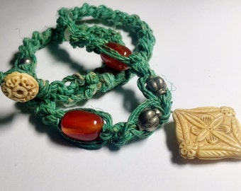 Turquoise Hemp, Chalcedony, and Bone Bead Necklace