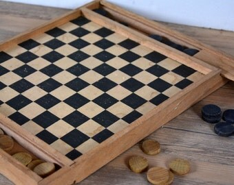 Game of checkers and ancient game, checkerboard, vintage, french game, board game