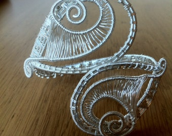 Wire wrapped cuff/bracelet, silver plated wire