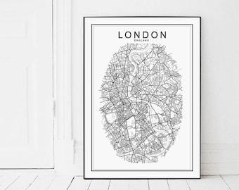 London Map, LONDON, London Print, London Poster, London Map Print, UK Map Print, City Map Print, London City Poster, UK Map, Black and White