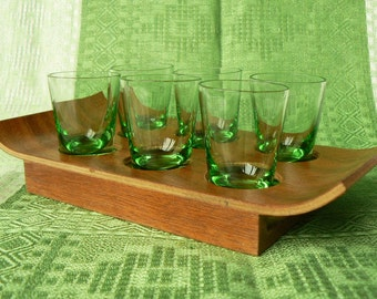 Set of 6 Vintage Shot Glasses/ Six Green Shot Glasses on Plywood Tray/ Vodka Glasses/ Green Glass/ Vintage Style/ Latvia (02)