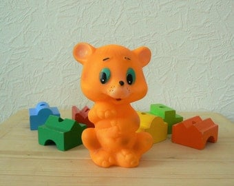Vintage Russian Rubber Toy, Orange Bear, Soviet Time Toy, USSR