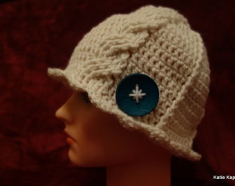 Katie's Kable Kap with teal button