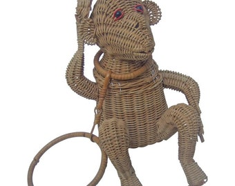 Whimsical Wicker Monkey Handbag. 1960's.
