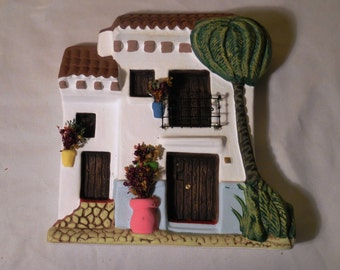 Old Caribbean House Fachade, Two story Pottery House, Wall Hanging