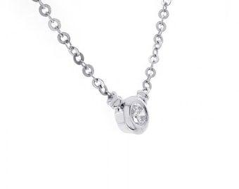 1.00 Carat Round Cut Diamond Pendant Necklace 14K White Gold