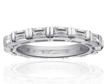 Ladies Baguette Cut Diamond Wedding Eternity Band in Platinum (1.00ctw)