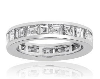 4.20 cttw Asscher Cut Diamond Eternity Wedding Band in 14K White Gold