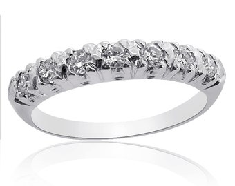 Platinum Round Brilliant Diamond Wedding Ring, 55ctw