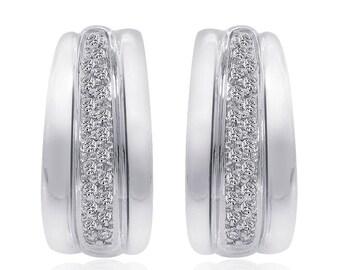 0.45 Carat Round Cut Diamond J-Hoop Earrings 14K White Gold