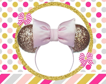 Glitter Rose Gold Minnie Mouse Ears ~ Glitter Mickey Mouse Ears