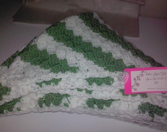 Green And White Corchet Blanket