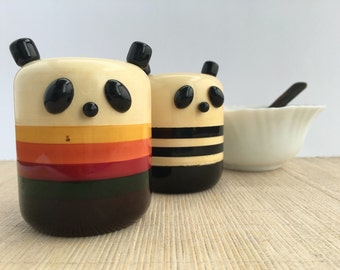 Pandas Wooden Salt and Pepper Shaker