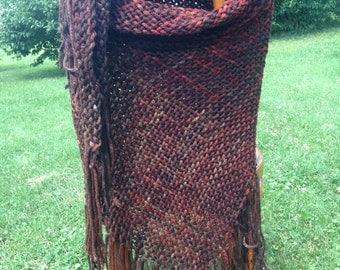 Handwoven Triloom Shawl - Brown Tones - Chunky Yarn