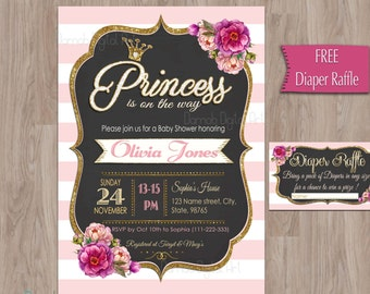 Baby Shower invitation Princess, Princess Baby Shower invitation, Pink Gold Baby Shower invitation, Baby Shower Girl, Baby shower Princess