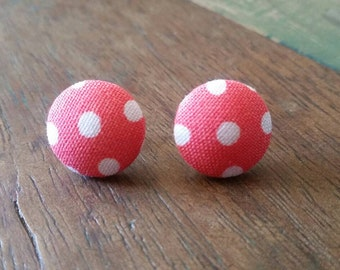 Handmade peach and white poka dot 15mm button earrings