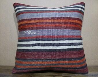 16x16 Pillow Turkish Kilim Pillow Cushion Cover,Sofa Pillow,Bohemian Pillow Decorative Pillow,Throw Pillow SP40-76