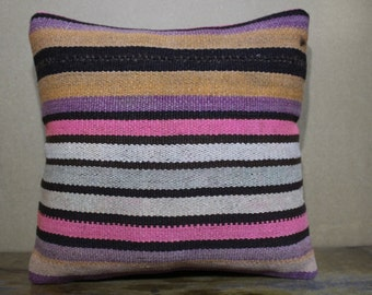 Vintage Handwoven Turkish Kilim Pillow,Cushion Cover 16x16 - 40x40 Sofa Pillow,Bohemian Pillow Decorative Pillow,Throw Pillow SP40-80