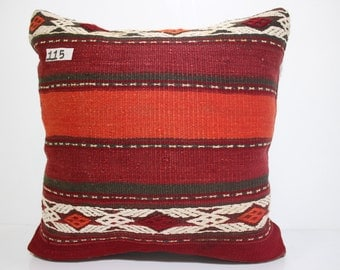 red and orange plaid kilim pillow home decor Turkish pillow 18x18 - 45x45 cm large size embroidered pillow kilim cushion cover SP4545-115