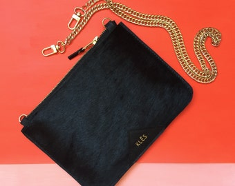 Handmade pony leather zipper pouch bag - Very Limited Edition