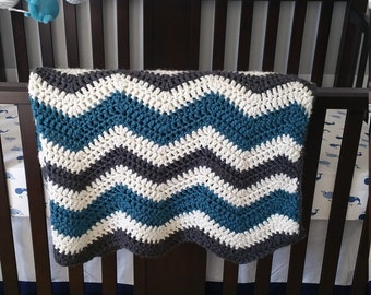 Snuggled Up Chevorn Crochet Baby Blanket